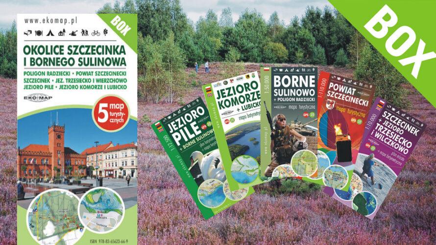 Nowy zestaw map okolic Bornego Sulinowa i Szczecinka zawiera pięć tytułów, wydanych w latach 2016-2019: